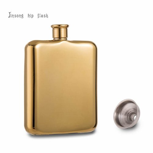 2017 high quality 14K Gold Titanium Plated Stainless Steel Hip Flask (6 OZ)  with free funnel ., Food Degree stainless steel
