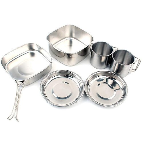6PCS/Set Stainless Steel Camping Cookware Cooking Set Soup Pot Frying Pan Outdoor Survival Gear For Backpacking Picnic Hiking