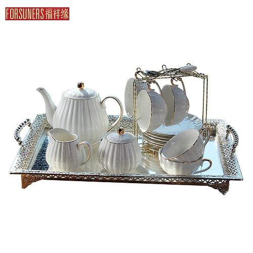 Luxury Bone China Coffee Cup Set European Modern Retro Minimalist High Quality Creativity Tea Coffee Mug Set Drinkware DA60BYD