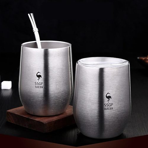 Double Wall 304 Stainless Steel Cup With Lid Heat Resistant Portable Yerba Mate Tea Mug With Straw And Brush