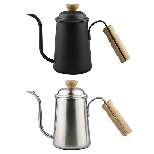Stainless Steel 650mL Coffee Kettle Drip Filter Fine Mouth Pot Wooden Handle Pour Over Coffee Pot for Home Kitchen Office