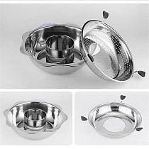 Home Use and Commercial Use Non-Magnetic Pot Deepening Hot Pot Chinese Style Stainless Steel Rotary Lifting Hot Pot