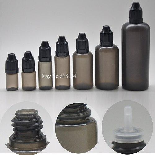50pcs 3ml 5ml 10ml 15ml 30ml 50ml 100ml black plastic squeezed e juice liquid dropper bottle with childproof cap