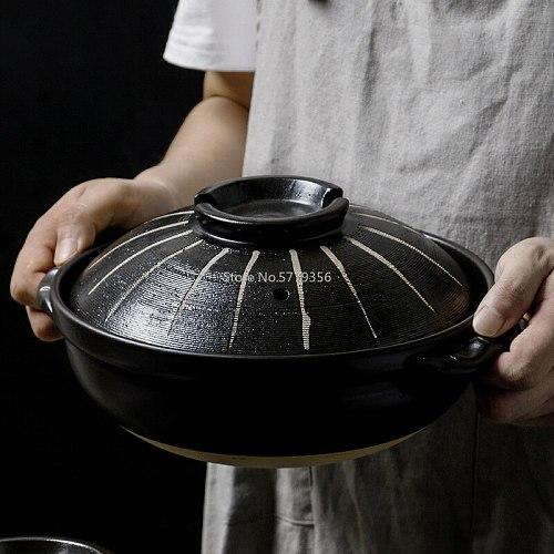 Japanese Style Casserole Stew Pot High Temperature Household Ceramic Stew Pot Gas Soup Casserole Earth Casserole