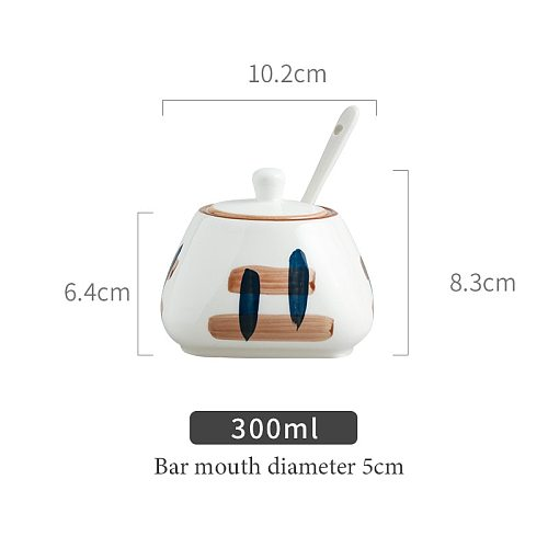 Creative Ceramic Kitchen Supplies Salt and Sugar Shaker/Spice Jar,Spice Pots Bowls,With Tray and Spoon Container Condiment Jars