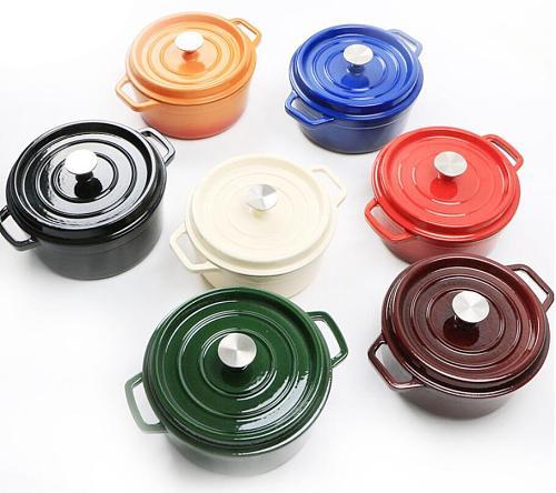 Big 20-26CM Cast Iron Enamel Pot Cookware Carbon Steel Enamel Dutch Oven Pot Set