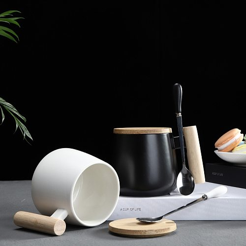 Nordic Style Black White Fat Body Coffee Mug with Wooden Handle and Spoon Modern Style Office Use Water Milk Drinks Ceramic Cups