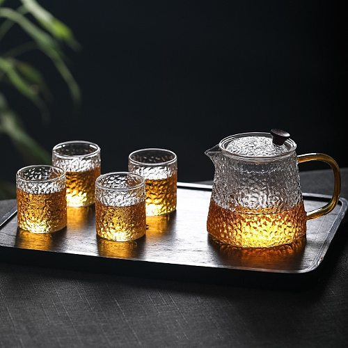 High temperature resistant glass cup thick tea cup family Kung Fu tea cup transparent small flower teacup