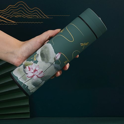 450ml Chinese Style Intelligent Thermos Bottle Classical Style LED Touch Display Stainless Steel Vacuum Flask Mug Water Bottles
