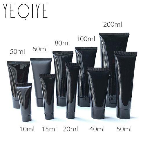【30PCS】10/15/20/30/50/60/80/100/120g/200ml Black Plastic Soft Bottle Cosmetic Facial Cleanser Cream Squeeze Tube Lotion Bottle