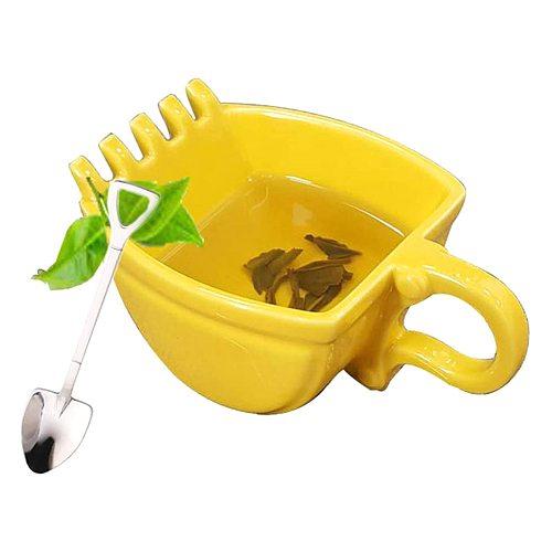 1Pcs Creative Excavator Coffee Cup Mugs Single Handle Plastic Bucket Cup Yellow Cake Tea Cup Mugs Gift Household Kitchenware
