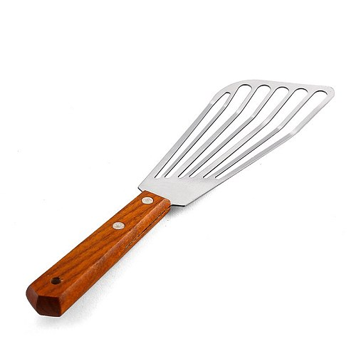 Stainless Steel Leak Design Spatula Fry Steak Heat Insulation Handle Pork Chop kitchen New Design Innovate Effective Deoil