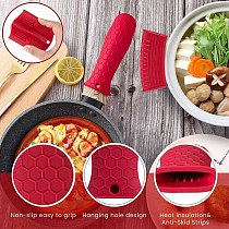 NHBR 8 Pieces Silicone Hot Handle Holder Non Slip Pot Holders Cover Assist Hot Pan Handle Rubber Heat Resistant