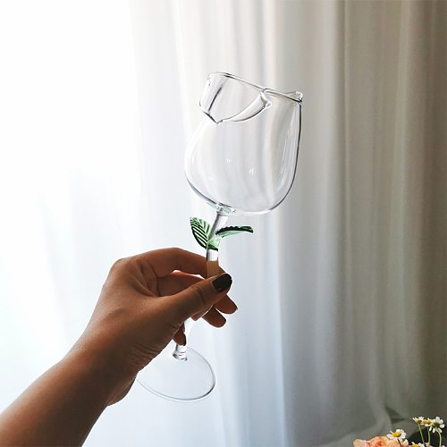 Wine Glass Rose Flower Shape Goblet Lead-Free Red Wine Cocktail Glasses Home Wedding Party Barware Drinkware Gifts
