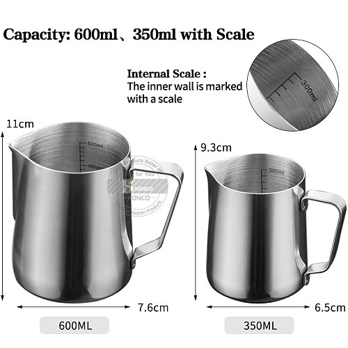 KONCO Inner Scale Espresso Coffee Milk Frothing Pitcher Stainless Steel Creamer Macchiato Cappuccino Latte Art Maker Pitcher Cup