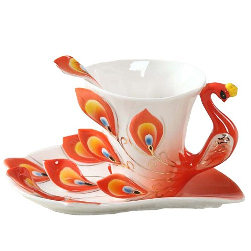 1 Pcs Peacock Coffee Cup Ceramic Creative Cups Bone China 3D Color Enamel Porcelain with Saucer and Spoon Coffee Tea Sets