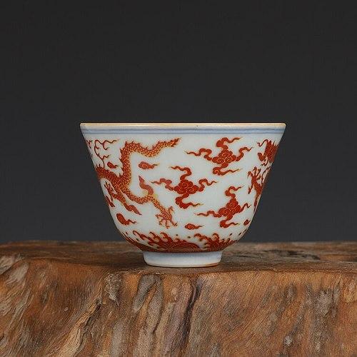 Chenghua Golden Dragon Design Cup Antique Tea Cup Collection Ornament