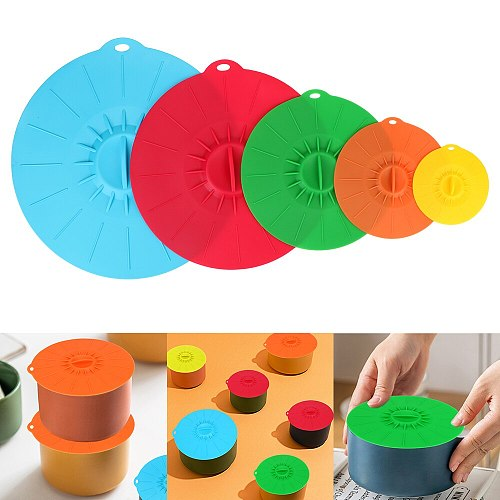 5Pcs Reusable Bowl Pot Cup Lid Silicone Stretch Lids Microwave Bowl Cover Kitchen Tools Pan Lid Stopper Food Fresh Cover