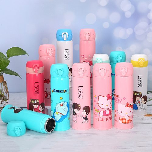 Cartoon Thermos Cup Stainless Steel Mug Thermos Vacuum Water Bottle Cartoon character Child Gift Children Cup Dropship