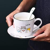 Nordic coffee cup and dish set creative personality household flower tea cup afternoon cup dish ceramic milk cup