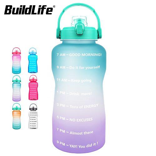 BuildLife 2L 3.8L Tritan Gallon Water Bottle Flip-Flop Motivational BPA Free Sports Fitness Jugs Outdoor Gym Mobile Holder Tour