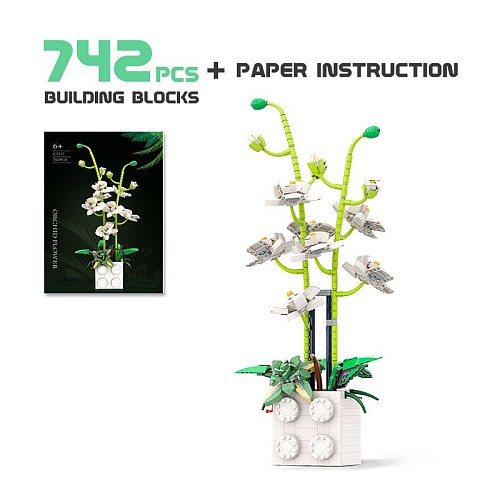 Retro Plants Vase Potted Flowers Green orchid Blossom Building Blocks Brick Accessories Model Chinese Style Kids Educational Toy