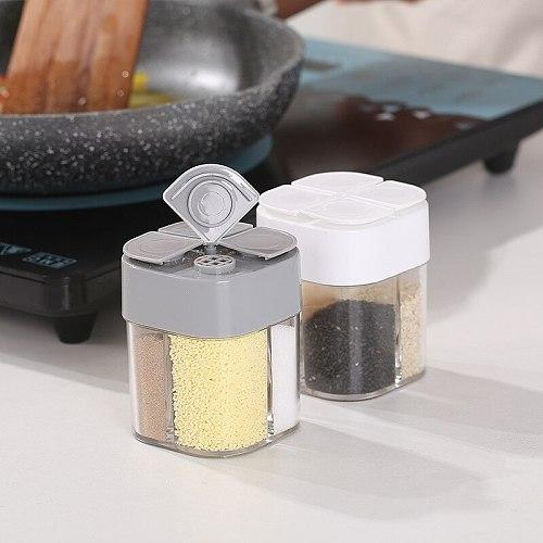 4 In1 Seasoning Bottle Transparent Spice Jar Set Salt And Pepper Kitchen Condiment Cruet Storage Container Sealing Moisture