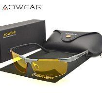 AOWEAR Brand Night Vision Glasses for Driving Yellow Sunglasses Men Polarized UV400 High Quality Night Driver Glasses for Drive
