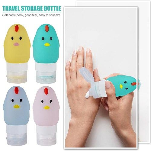 70ml Silicone Bottles Cartoon Chicken Shape Shower Squeeze Empty Bottle Shower Makeup Gel Lotion Travel Storage Bottle