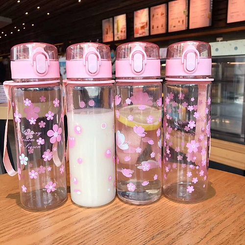 Summer 500ml Portable Leak-proof Water Cup Girl Bottle High Quality Tour Outdoor Bicycle Sports Drinking Plastic Water Bottles