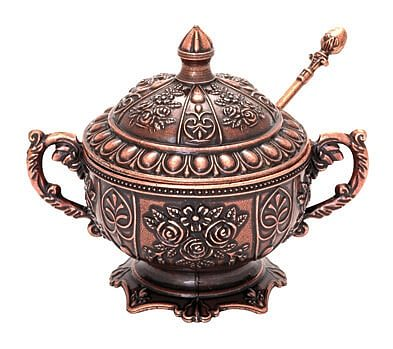 Sugar Bowl With Spoon 5 Different Color Options High Quality Silver Plated Handmade Turkish Workmanship - 130