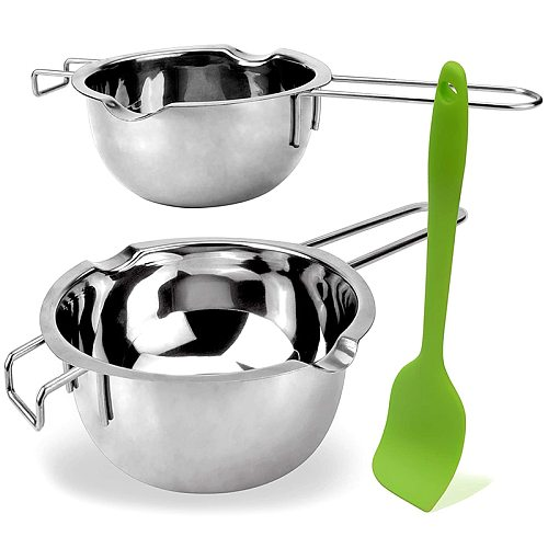 2 Pack Double Boiler Melting Pot with Silicone Spatula for Butter for Chocolate Candy Butter Cheese (400ML and 600 ML)