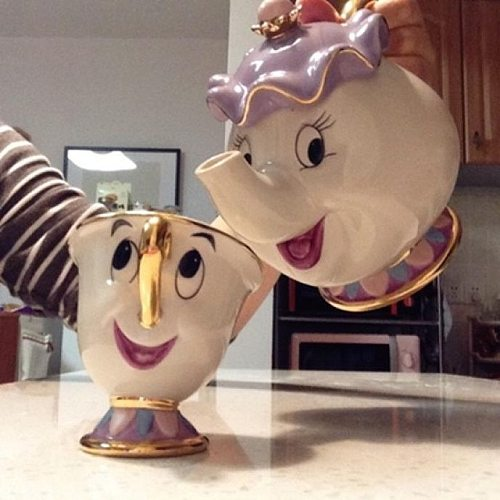 Hot Sale Cartoon Beauty And The Beast Teapot Mug Mrs Potts Chip Tea Pot Cup One Set Nice Christmas Gift Free Shipping