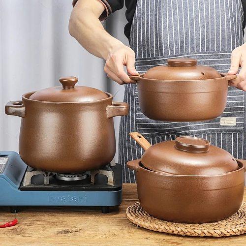 Casserole Clay Casserole High Temperature Resistant Household Open Flame Unglazed Pregnant Woman Baby Stew Pot Soup Porridge