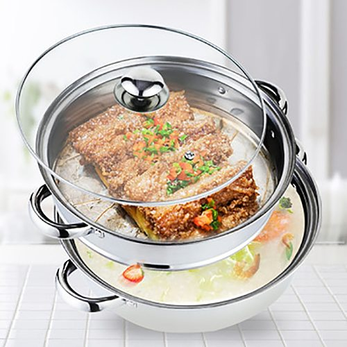 Thick Stainless Steel Steamer Pot Double Layer Soup Pot Double-ear Soup Steam Cooker Pots Kitchen Cookerware