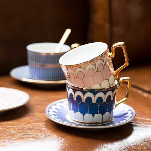 Ceramic Coffee Cup With Golden Handle Tea Cup Saucer Spoon In Set Creative Porcelain Espresso Cup For Gift Restaurant Supplies