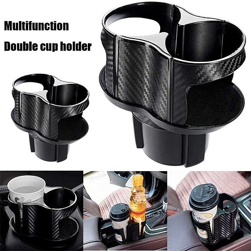 Elastic Car Drink Holder Double Hole Beverage Holder Car Drink Bottle Cup Holder Water Bottle Mount Stand Car Accessories