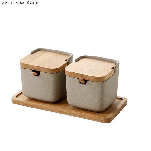 Japanese Style Creative Simple Bamboo Cover Ceramic Seasoning Pot Kitchen Seasoning Box Moisture-proof Salt Pot Three-piece Set