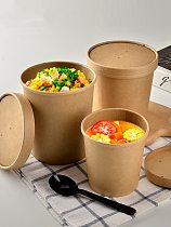 50pcs High quality kraft paper round soup bowl soup bucket disposable lunch box takeaway snack food fruit salad packing cups
