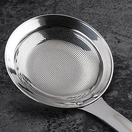 Kitchen Hot Pot Fat Skimmer Spoon Stainless Steel Fine Mesh Food Strainer
