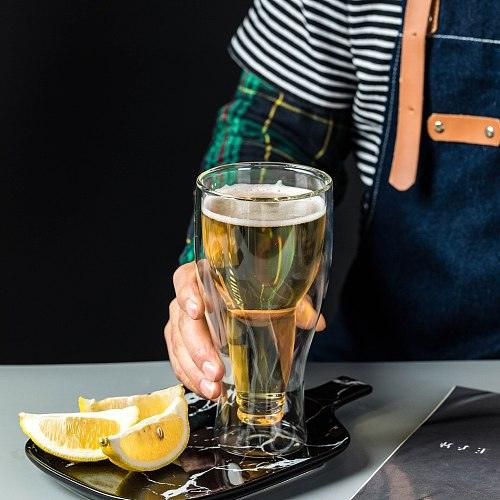 Creative Flip Beer Mug Upside Down Juice Drink Water Cup Whiskey Champagne Glass Bar Restaurant Transparent Double Glass Cup