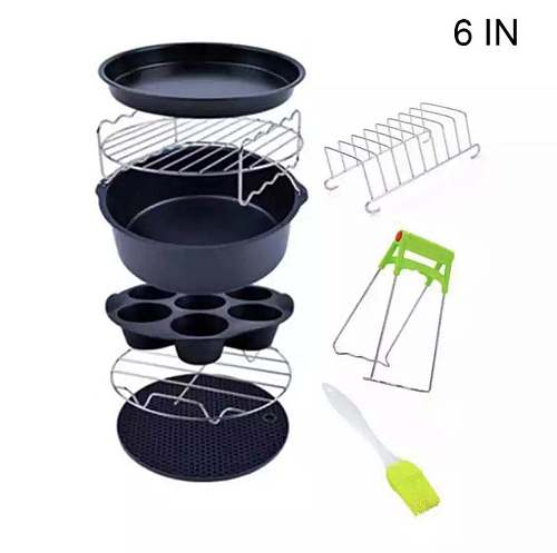 Air Fryer Accessories 6Inch 9pc/Set Tray Grill Toast Rack Steam Rack Insulation Pad 3.2QT5.8QT Kitchen Supplies Accessories