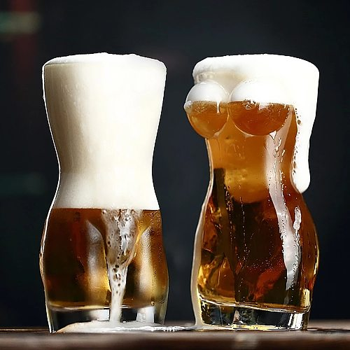 Creative Lady Men Body Shape Durable Double Wall Whiskey Glasses Wine Shot Glass Big Chest Beer Cup 700ml/400ml/30ml