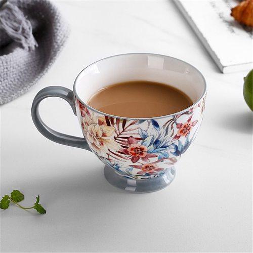 400ML Colorful Painting Mugs Ceramic Lovers Kawaii Christmas Coffee Cups Set Top-Grade Bone Chinese Tea Water  Milk Cups Office