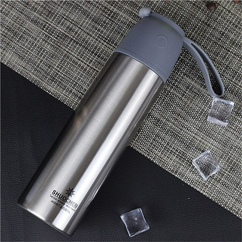 500ml Cup Lid Stainless Steel Thermos Mug Water Bottle For Girls With String Outdoor Travel Coffee Vacuum Flask Thermal Tumbler