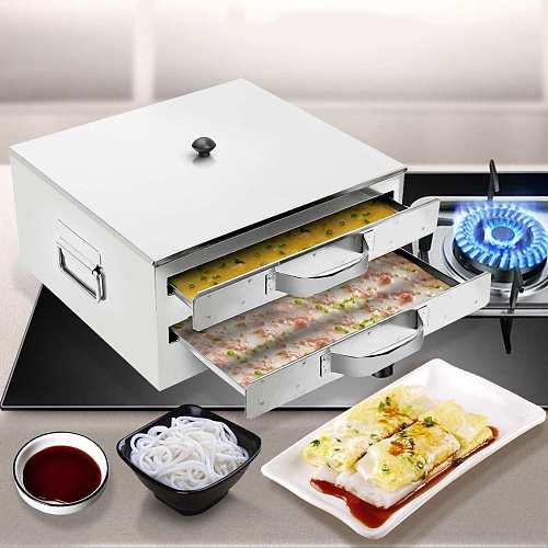 DIY Steamed Vermicelli Rice Roll Cooking Tray Steamer Drawer Boilers Stainless Steel Kitchen Fast Making Food Machine