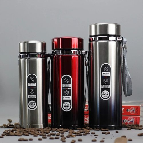 Steel Large-Capacity Vacuum Flask 304 Stainless Steel Outdoor Thermos Professional Portable Mountaineering Car Office Teacup