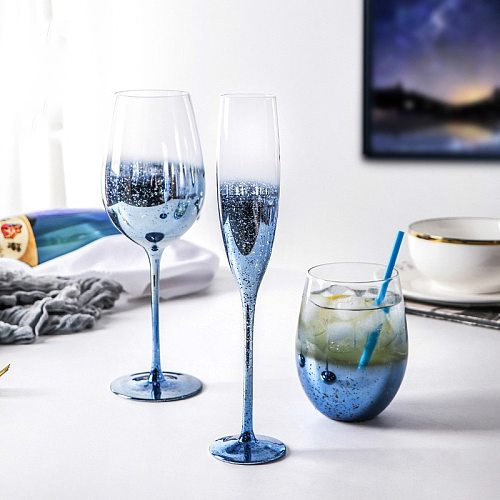 Creative Blue Starry Wine Glass 150-540ml Goblet Lead-Free Crystal Glass Red Wine Cup Champagne Juice Holiday Gift Wine Set