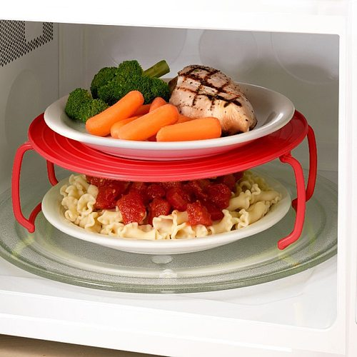 3 Colors Microwave Insert Plastic Stand Multifunction Kitchen Plate Rack Plastic Stacker Lid + Cooling Rack Kitchen Tool