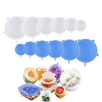 Stretchable Bowl Cover Silicone Magic Cover Six-Piece Fresh Cover Refrigerator Microwave Sealed Plastic Wrap Kitchen Accessories